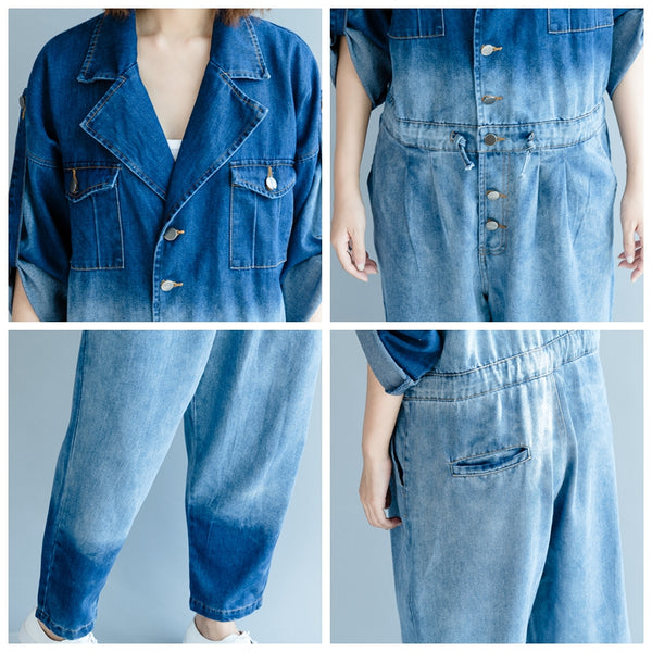 Fashion Blue Denim Overalls Women Cotton Jumpsuit For Autumn P2080