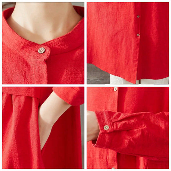 Women Loose Cotton Linen Long Shirt Casual Spring Blouse 1501