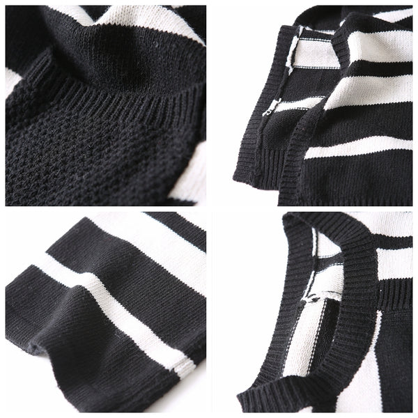 Fashion White And Black Striped Knitted Cotton Dresses For Women Q8007