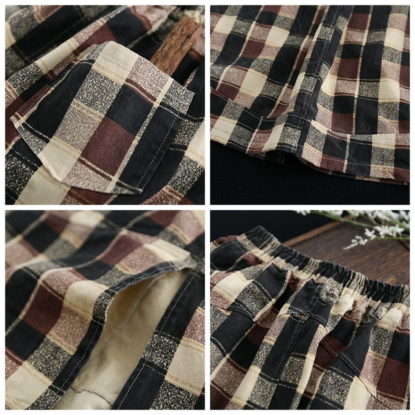 Vintage Casual Cotton Linen Plaid Skirt For Women Q4022