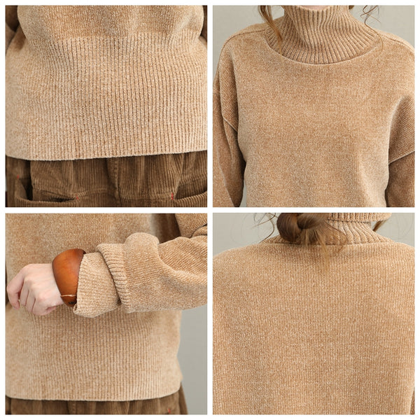 Women Vintage High Neck Sweater Casual Warm Tops Q1618