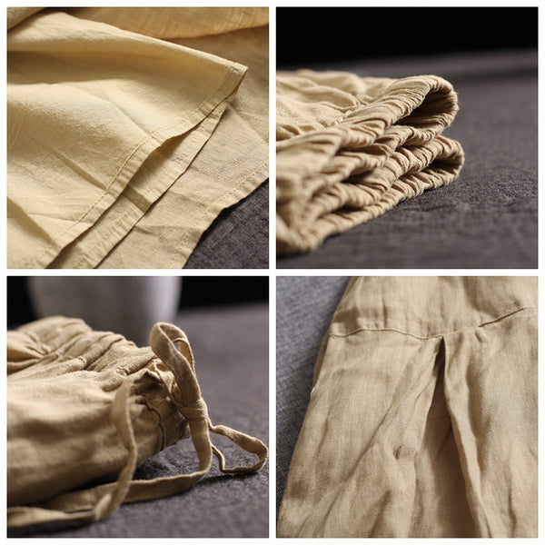 Khaki Casual Linen Wide-leg Pants Women Summer Loose Trousers 18270