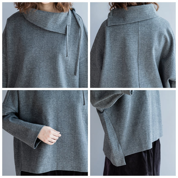 Casual Loose Thick Gray Shirt Women Warm Tops S2211