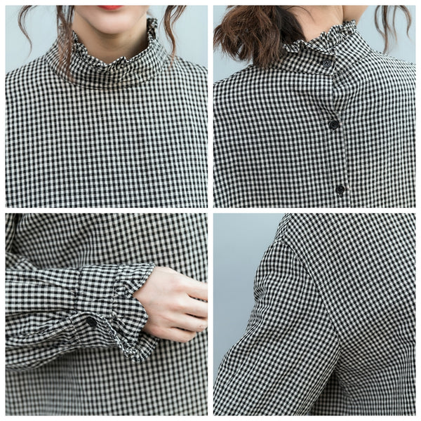 Loose Black Plaid Cotton Linen Shirt Women Casual Blouse S5026