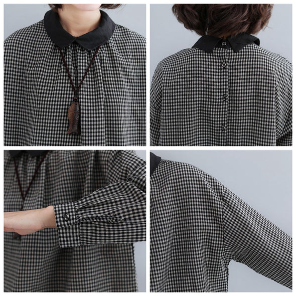 Black Cotton Linen Plaid Doll Shirt Women Cute Casual Tops S31124