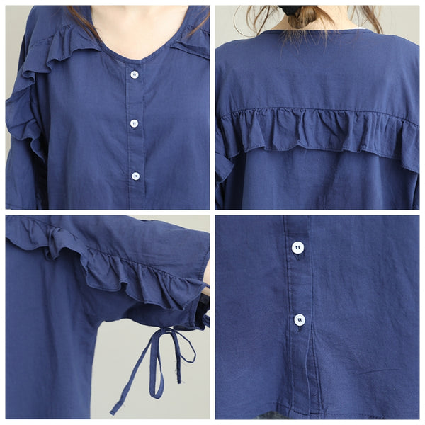 Loose Button Down Cotton Linen T Shirt Women Casual Tops Q1288
