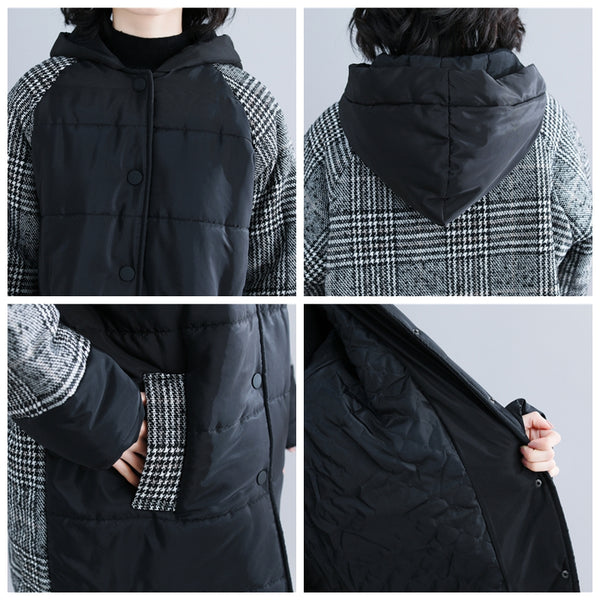 Women Casual Black Quilted Hoodie Coat Winter Tops C19114