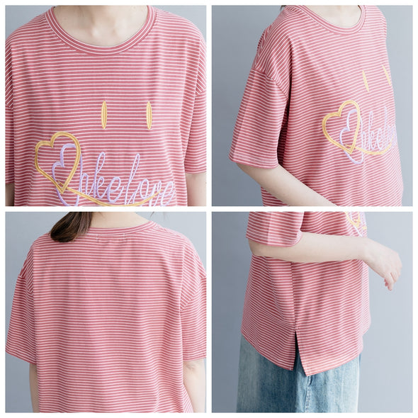 Cute Pink Striped Casual Cotton Shirt Women Loose Blouse S20032
