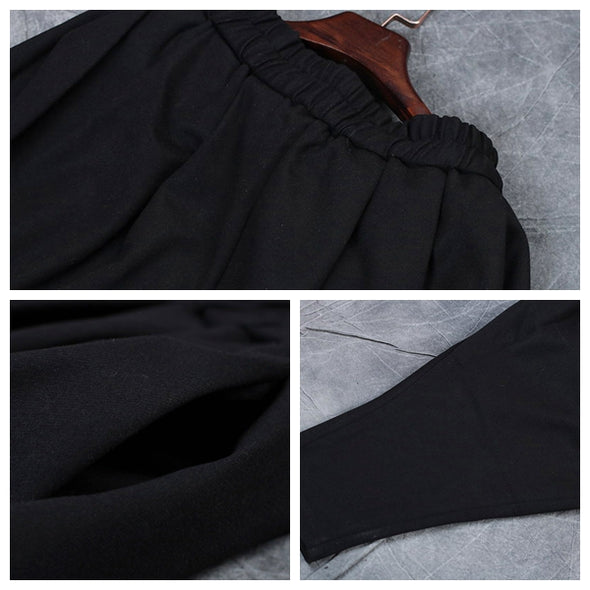 Black Thick Casual Harem Pants Women Loose Woolen Trousers W0361