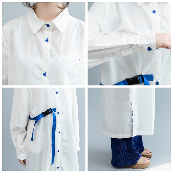Fashion Loose 100% Cotton Long Shirt Women Fall Blouse S2082
