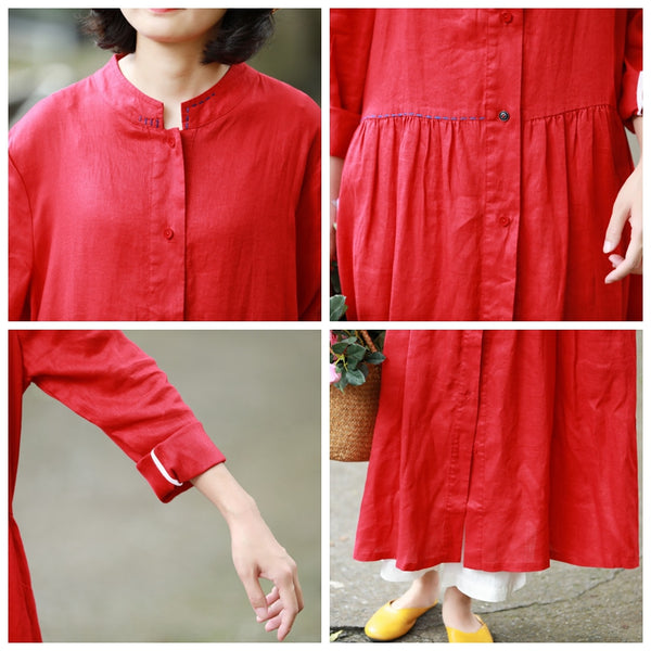 Loose Blue And Red Button Down Linen Maxi Dresses For Women Y753