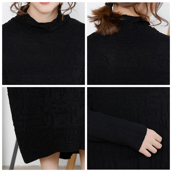 Black Elegant High Neck Casual Sweater Dresses For Women Q6110