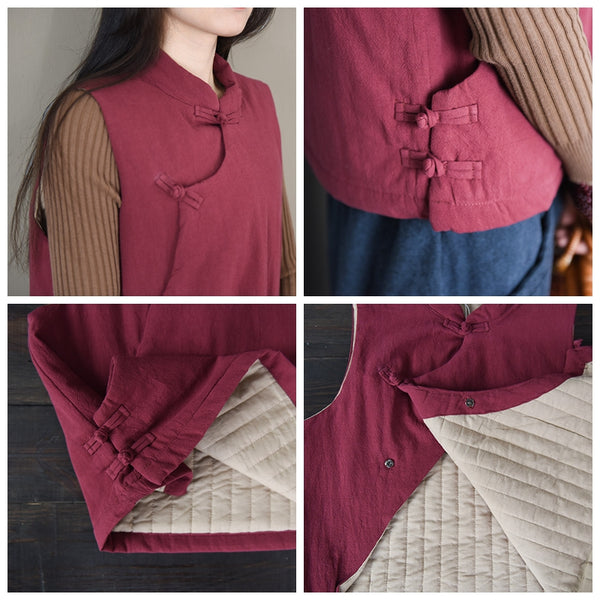 Vintage Chinese Style Thicken Linen Waistcoat For Women W1210