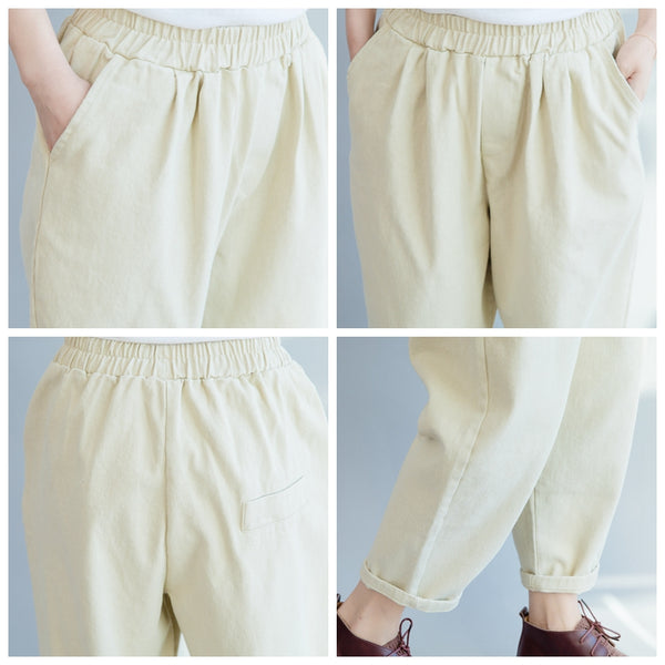 Beige Women Casual Harem Pants Loose Trousers For Spring K21018