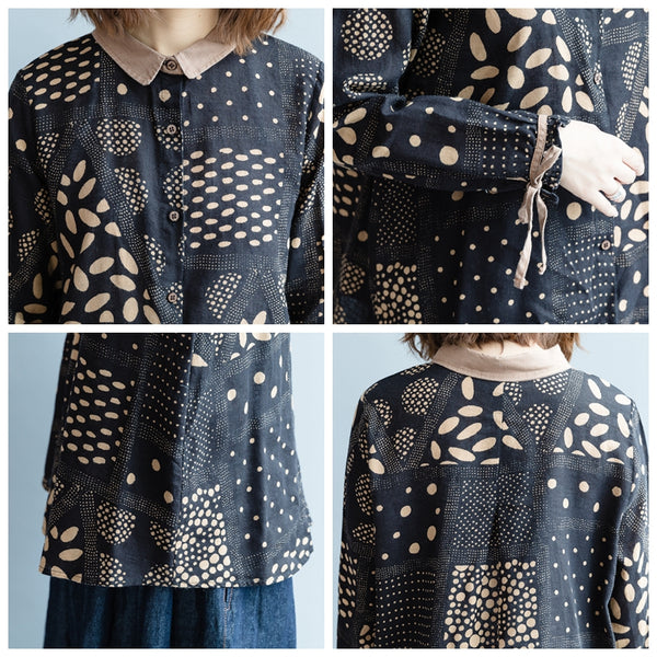 Casual Black Print Shirt Women Blouse For Autumn S3081