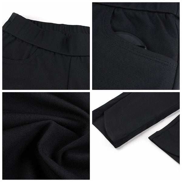 Plus Women Black Leggings Casual Cotton Pants Summer Trousers 9166