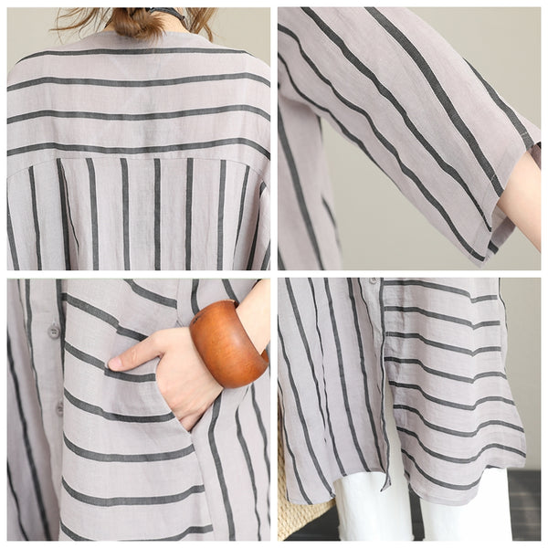 Loose Striped Linen Shirt Dresses Women Casual Clothes Q1221