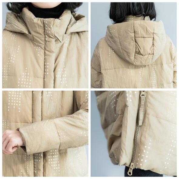 Casual Khaki Hoodie Long Down Coat Women Loose Winter Outfits C1217