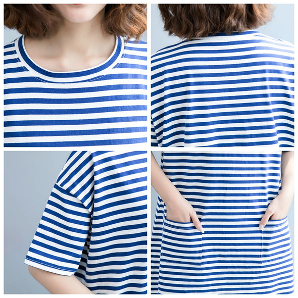 Casual Blue Striped Dresses Women Loose Cotton Clothes Q6084