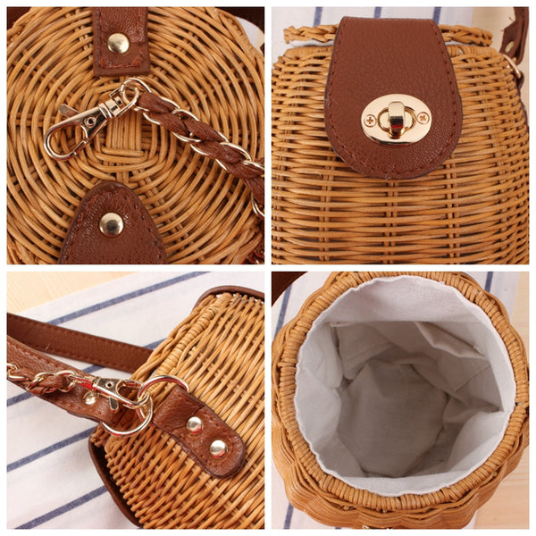 Japanese Style Rattan Bucket Bag Women Casual Hand Bag Summer Shoulder Bag B25033