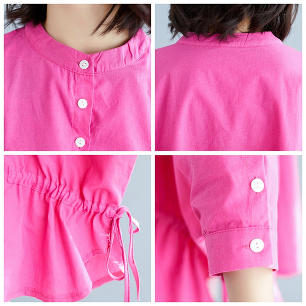 Loose Pink And Yellow Cotton Linen Blouse Women Casual Tops S11039