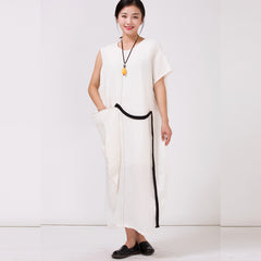100%Linen White Long Dress For Women