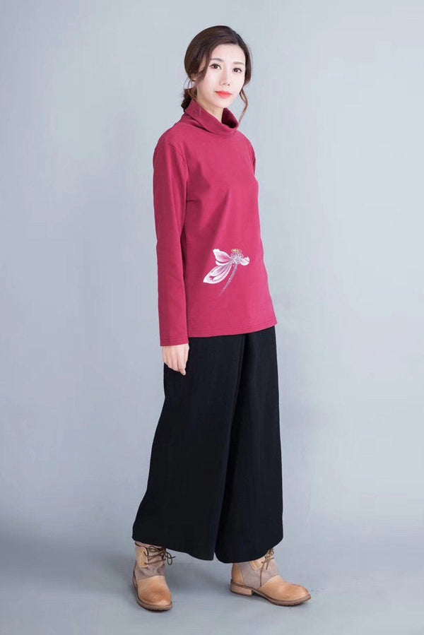 Wide Legs Cotton Linen Long Pants Women Clothes in Black W080 - FantasyLinen