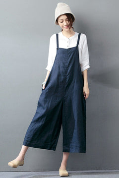 Navy Blue Cotton Linen Casual Loose Overalls Big Pocket Maxi Size Trousers Fashion Jumpsuit
