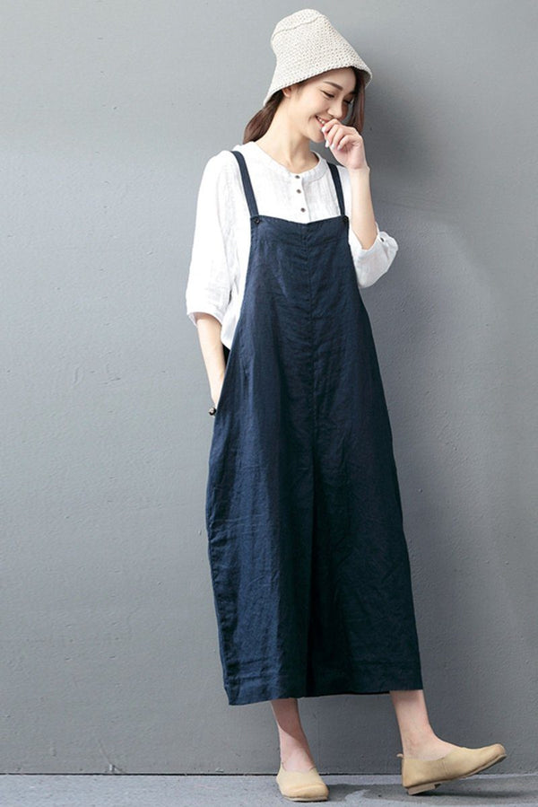 Navy Blue Cotton Linen Casual Loose Overalls Big Pocket Maxi Size Trousers Fashion Jumpsuit - FantasyLinen