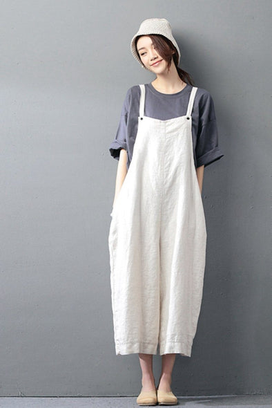 Beige Cotton Linen Casual Loose Overalls Big Pocket Maxi Size Trousers Fashion Jumpsuit - FantasyLinen