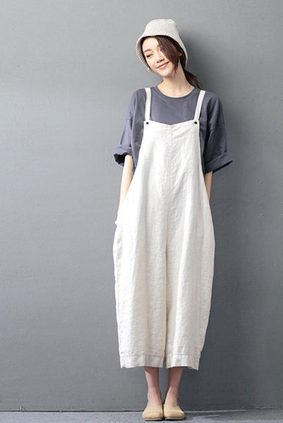 Beige Cotton Linen Casual Loose Overalls Big Pocket Maxi Size Trousers Fashion Jumpsuit