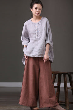 Big Size Casual Trousers Cotton Wide-legged Pants K3991B