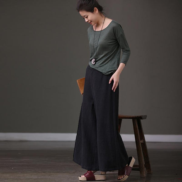 Big Size Casual Trousers Cotton Wide-legged Pants K3991B - FantasyLinen