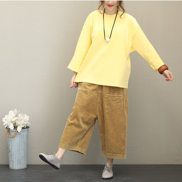 Fall Casual Pure Color Cotton Fleece Women Loose Tops Q1536