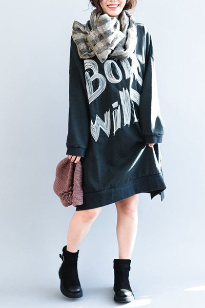 Embroider Cotton Midi Plus Size Baggy Fleece Dress