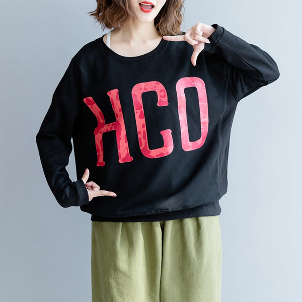 Women Loose Letter Print Cotton Fleece For Fall F1101