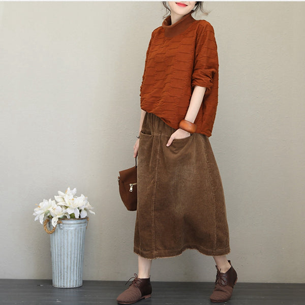 Women Casual Half High Neck Fleece Loose Tops For Autumn Q1720