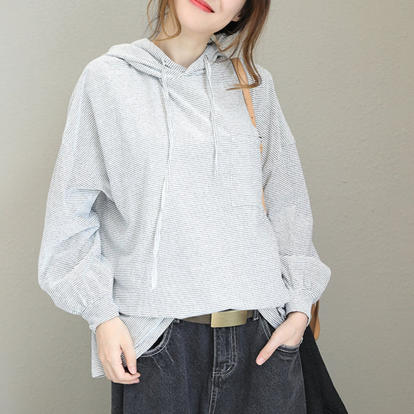 Loose Hoodie Striped Cotton Fleece Women Casual Tops For Autumn Q1565