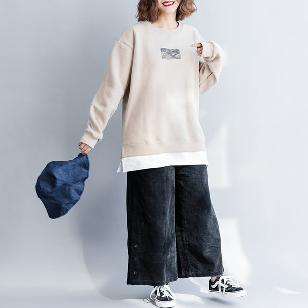 Women Casual Loose Brushed Cotton Fleece Winter Tops F5111