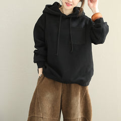 Loose Hoodie Brushed Cotton Fleece Women Warm Tops Q1826