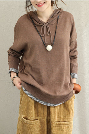 Fall Loose Hoodie Knitted Fleece For Women Q1507