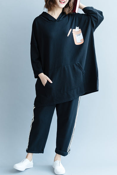 Casual Black Hoodie Cotton Fleece Women Fall Tops R2082