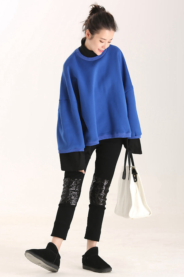 Women Loose Quilted Blue Cotton Fleece For Fall R8703