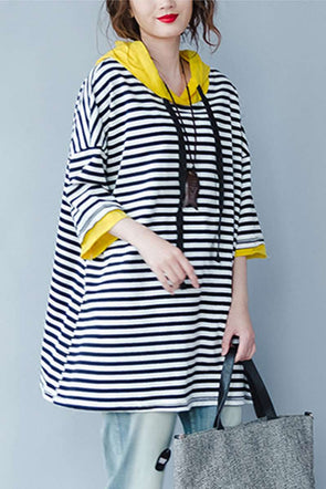 Summer Striped Plus Size Hoodie Fleece For Women F1642 - FantasyLinen