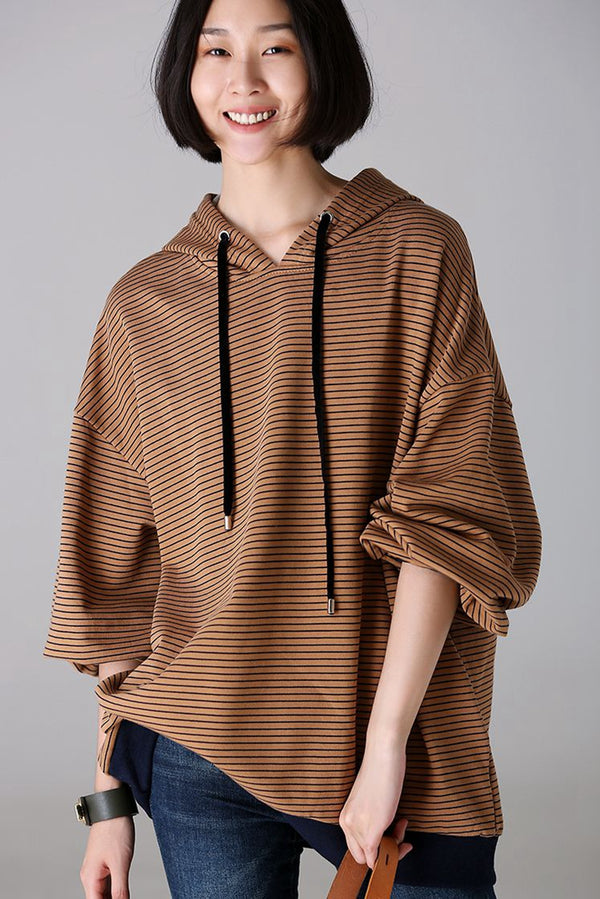 Loose Striped Hoodie Fleece Women Cotton Blouse For Autumn R1933