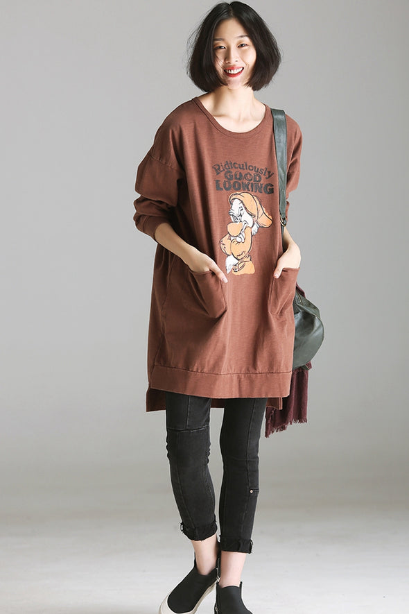 Casual Print Cotton Medium Length Fleece For Women R2007