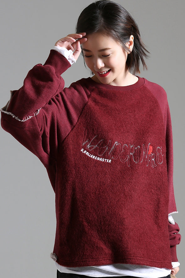 Casual Quilted Letter Thicken Fleece Women Warm Tops R3110