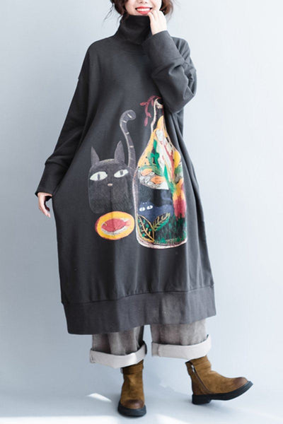 Women Cotton High Collar Loose Plus Size Fleece Dress