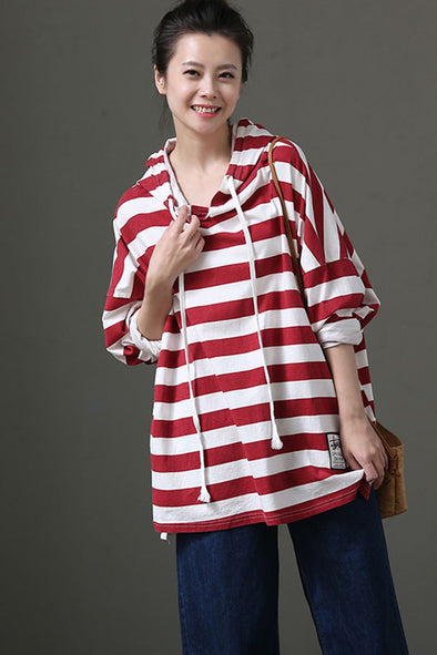Women Casual Striped Hoodie Long Sleeve Fleece T Shirt Tops T7116 - FantasyLinen