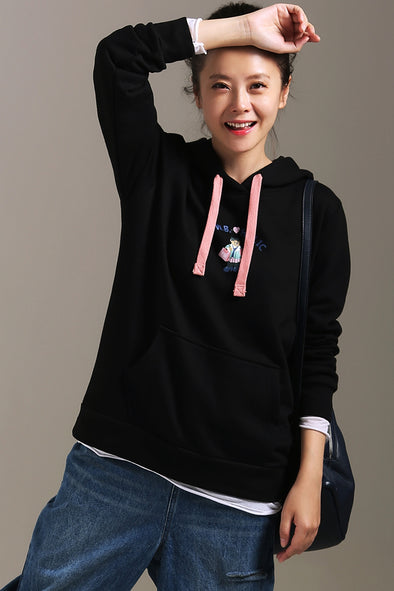Loose Hoodie Black Embroidery Cotton Fleece For Women R9101